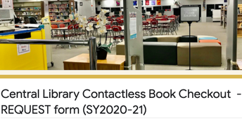 Request form for book checkout and art supplies contactless pickup