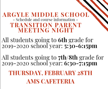 ARGYLE MIDDLE SCHOOL STUDENT INFORMATION NIGHT