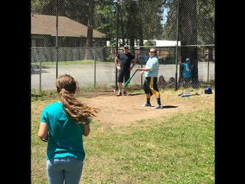 Mr. Beilby with the 0-2 count - 6th graders had a tough pitcher!