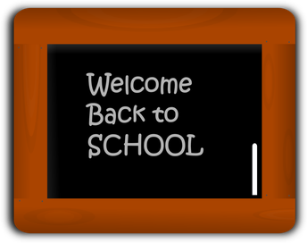 Chalkboard that says welcome back to school