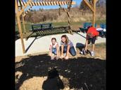 Mrs. Lonkhard's Blazer class helping with mulching