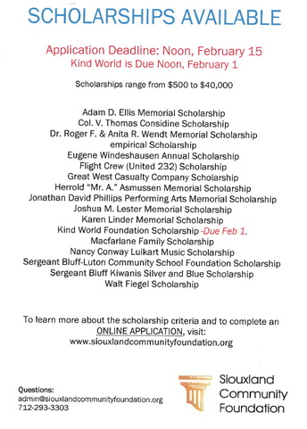 Siouxland Community Foundation - Scholarship Information