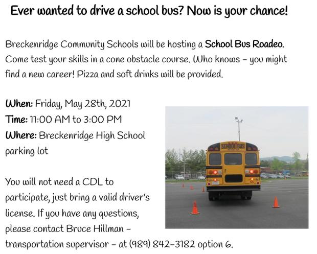 School Bus Roadeo at BHS Friday, May 28th at 11:00 AM