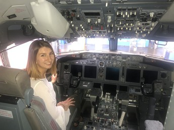 Jessica Koynock aboard an aircraft - in the pilot's cabin - during her internship with Southwest Airlines