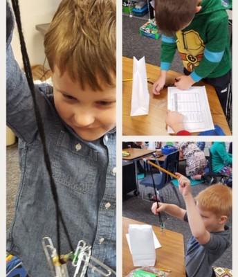1st Graders studying magnetism
