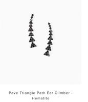 Pave Triangle Ear Climbers - Black