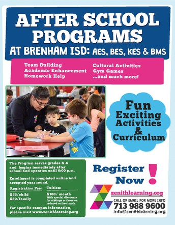 Brenham ISD announces a new afterschool program!