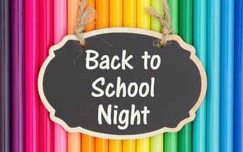 colored pencil background with chalkboard sign hanging in front that reads Back to School Night