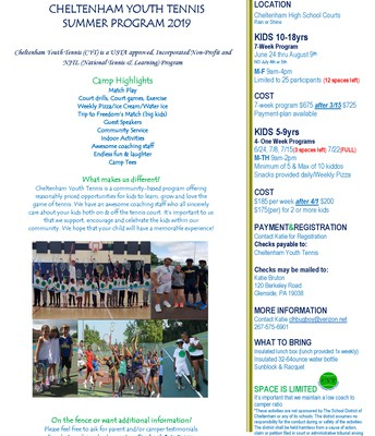 Cheltenham Youth Tennis Summer Program