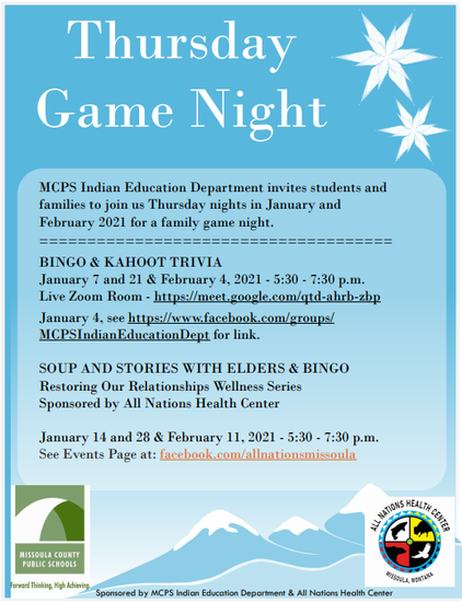 Thursday Game Night - MCPS Indian Education