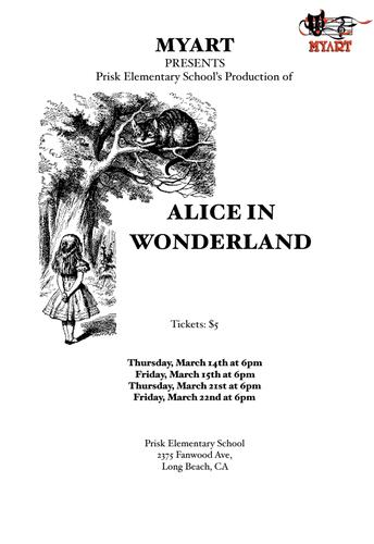 Alice in Wonderland at 6pm in the Prisk Auditorium!