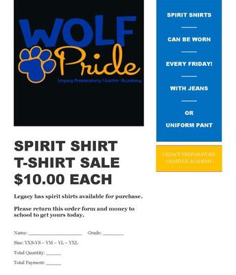 Spirit Shirt Order Form/formulario de pedido de camisa de espíritu