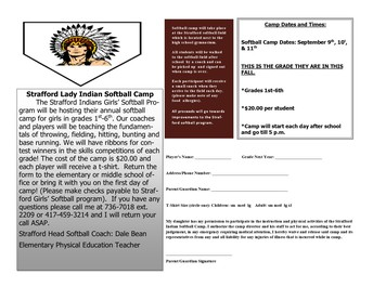 Strafford Lady Indian Softball Camp