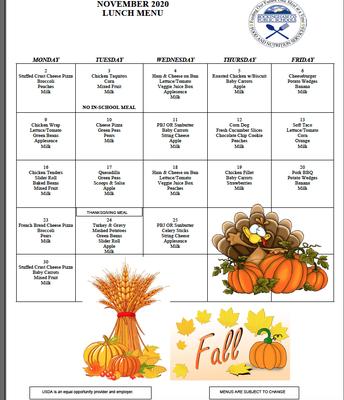 EES Lunch Menu-November