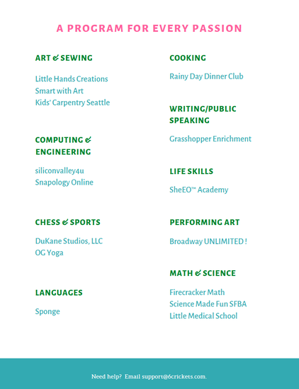 Enrichment program flyer: art & sewing, computer & engineering, chess & sports, languages, cooking, writing/public speaking, life skills, performing art, math & science