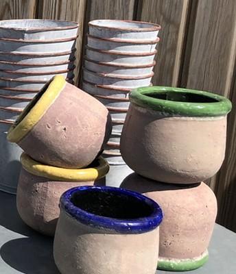 Rustic glazed rim plant pots
