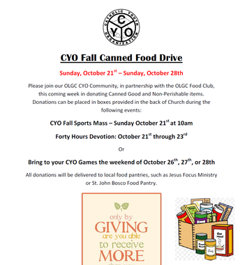 OLGC CYO Fall Canned Food Drive