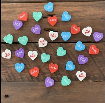 *New* Conversation Heart Erasers