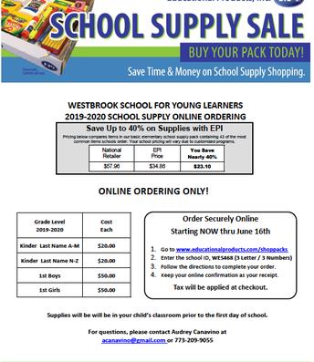 20/21 PTO School Supply Kits