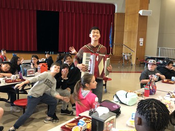 Mr. Chen played Accordion during lunches!