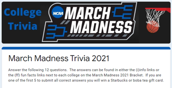 Play College Trivia - open until 5 entries have all 12 correct answers