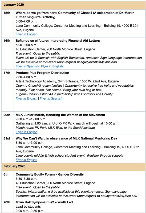 4J Equity Events Calendar