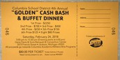 GOLDEN CASH BASH & BUFFET DINNER TICKETS ARE NOW AVAILABLE!!