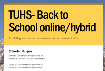 Information about Quarter 4 - Return to School in Hybrid or the 100% Online Option - week of April 19