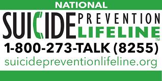 Suicide Prevention Helpline 1-800-273-8255