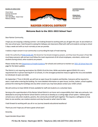 2021-22 Welcome Back Letter from our Superintendent