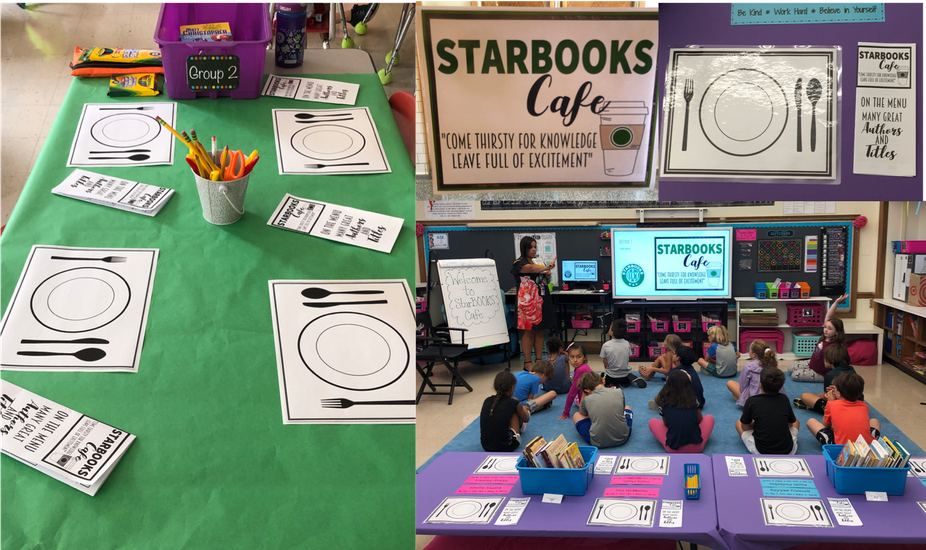 Multiple images of Julian Curtiss School's Starbook Cafe including a placemat for students and signage for Starbooks Cafe