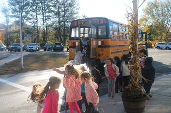 Fisher School students have a bus safety lesson