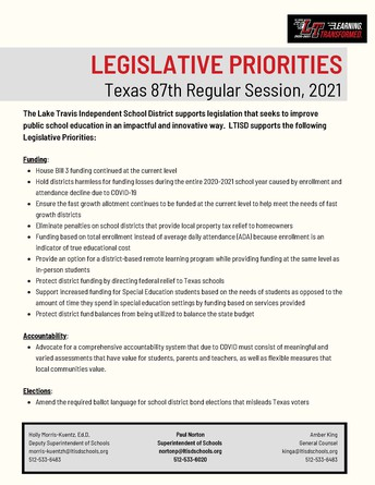 Board adopts legislative priorities for 87th session