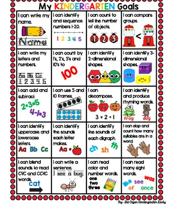 End of Kindergarten Goals