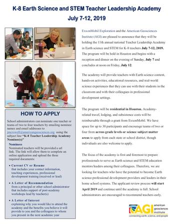 American Geosciences Institute (AGI)/ExxonMobil Exploration Teacher Leadership Academy: July 7-12. 2019.