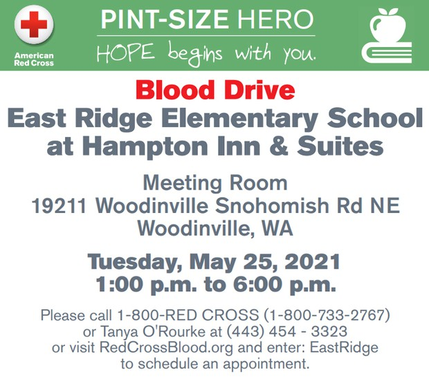Blood drive at Hampton Inn, 5/25, 1-6pm