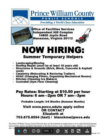 PWCS hiring summer temporary helpers