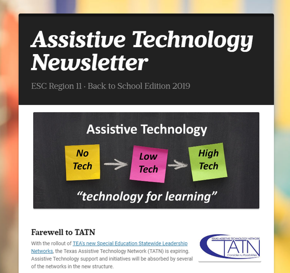 Click to access the Assistive Technology Newsletter