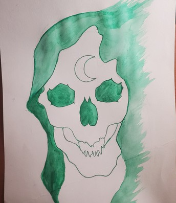 Water color painting of a skull with long green hair and a crescent moon on the forehead