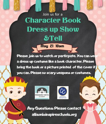 VIRTUAL Community Connections Character Book Dress Up Show&Tell