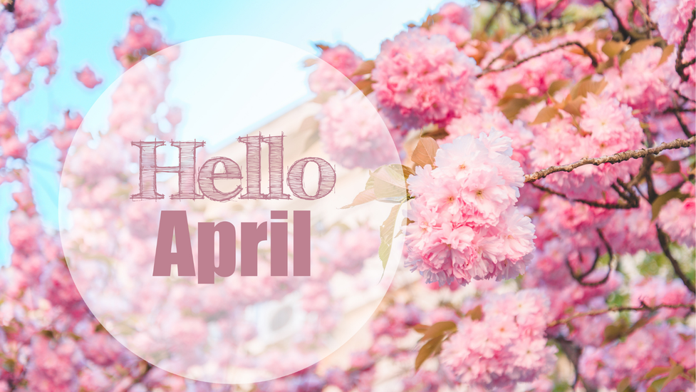 """A fun bright photo captures cherry blossoms in full pink bloom as the background. In a opaque circle lies the words """"Hello April"""" in a fun pink font."""