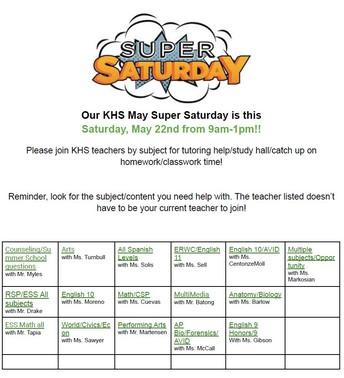 Super Saturday- May 22nd 9am-1pm