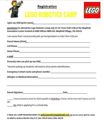 Lego Robotics Registration