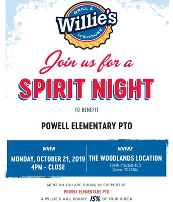 Powell PTO Spirit Night at Willie's Icehouse