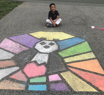 Erik did some amazing chalk art!