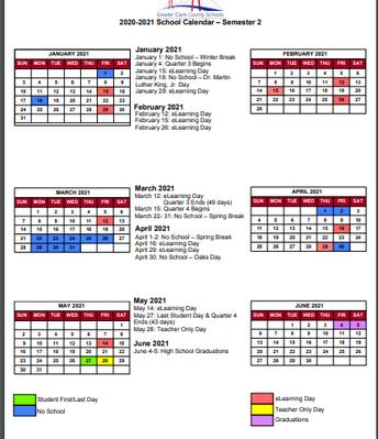 Semester 2 Calendar