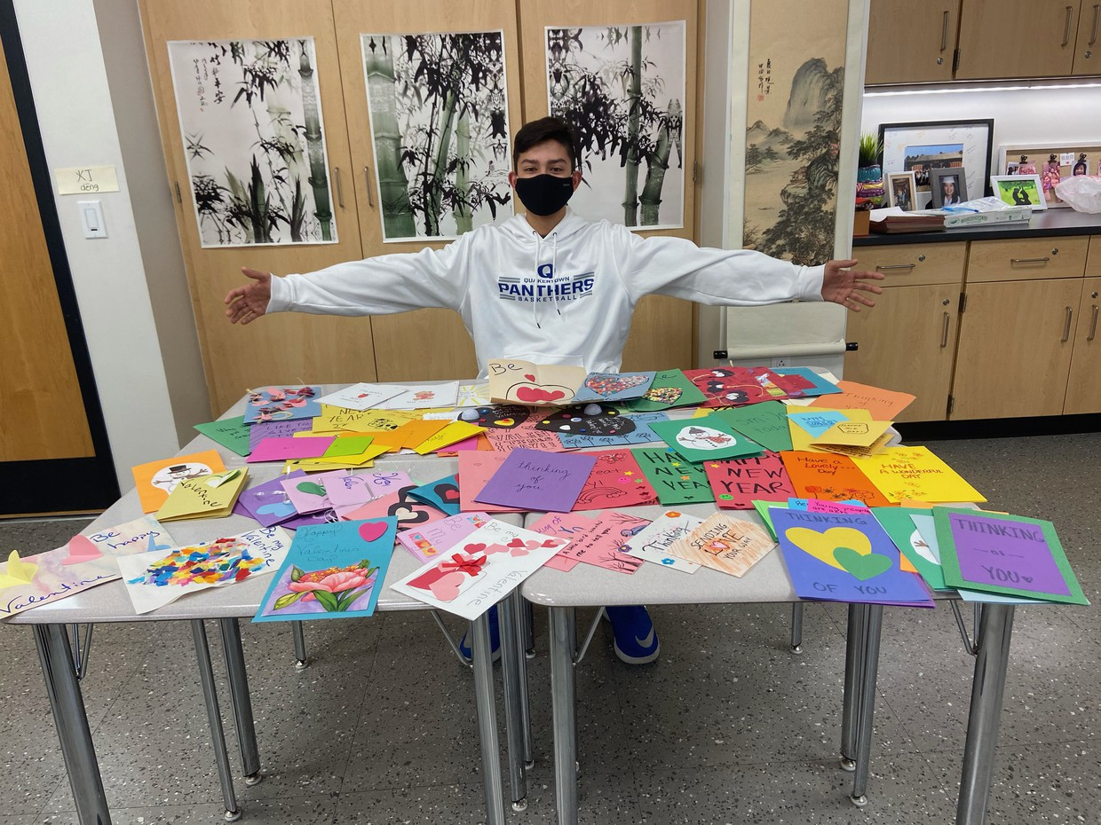 Brendan Padmanabhan is one of many students who made cards to be delivered to residents of a local nursing home.