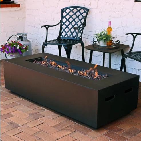 Sunnydaze 56-Inch Brown Modern Rectangular Propane Fire Pit Coffee Table with Lava Rocks