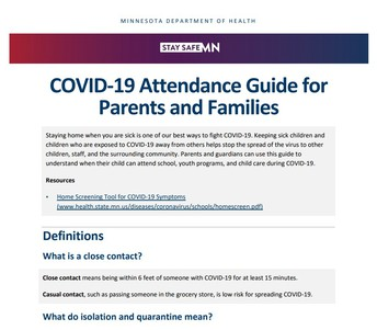 MDH COVID-19 Attendance Guide for Parents & Families