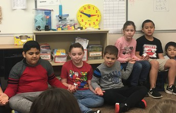 Mrs. Greenfield's 3rd grade class participate in a morning meeting activity.